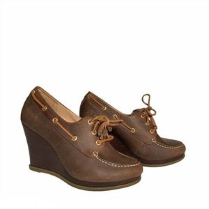 Sperry Top Sider Goldfish Wedges Brown Size 8.5